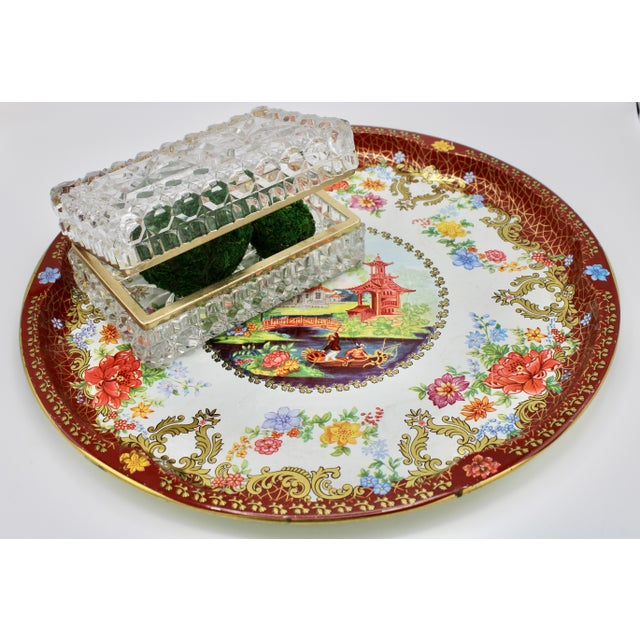 Vintage Chinoiserie Tole Floral Red and Gold Circular Tray For Sale - Image 10 of 12