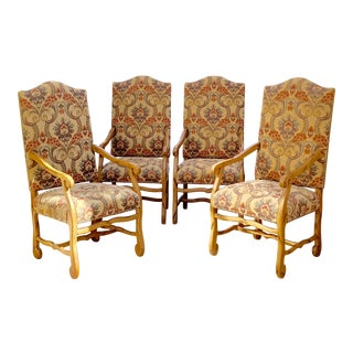 French Louis VIII Os De Mouton Kravet Dining Armchairs Chairs - Set of 4 For Sale