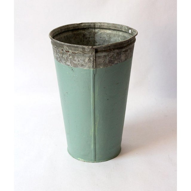 Vintage Turquoise Galvanized Metal Vessel For Sale - Image 4 of 8