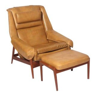 Folke Ohlsson Lounge Chair and Ottoman in Leather For Sale