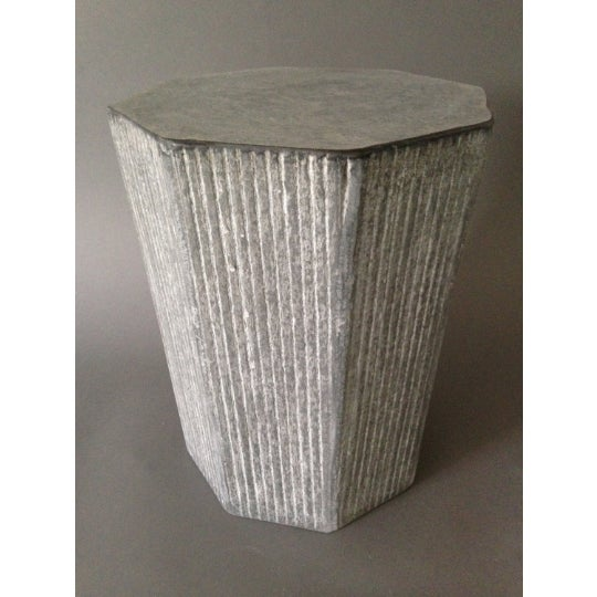 """This tapered octagonal """"cerused"""" concrete stool measures 13"""" in diameter and 16"""" high is suitable for use indoors or out...."""