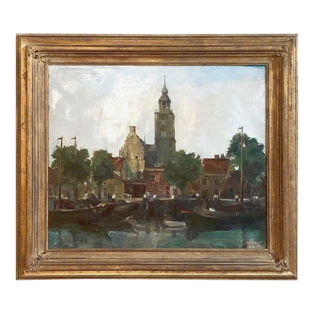 Mid-Century Framed Original Painting on Canvas by Joseph Tilleux (1896-1978) For Sale