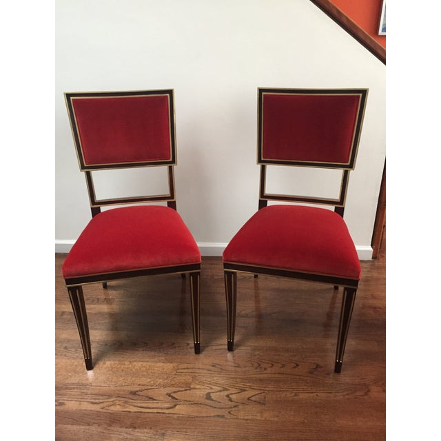 Pair of Ilsa side chairs in dark walnut finish in Hickory Chair velvet #2948-48 with hand painted gold trim.