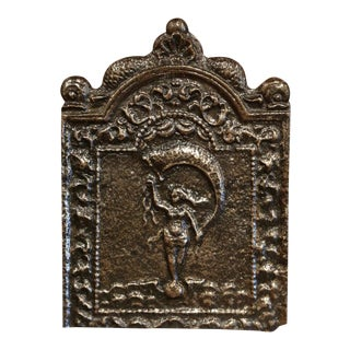 18th Century French Louis XV Polished Iron Fire Back With Goddess and Dolphins For Sale