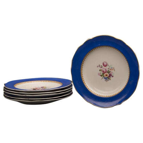 19th Century Antique English Sèvres Style Copeland Dessert Salad Plates - Set of 6 For Sale