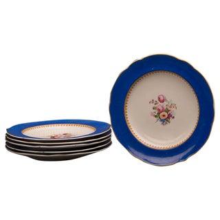 Set of Six Antique English Sèvres Style Copeland Dessert / Salad Plates circa 1875