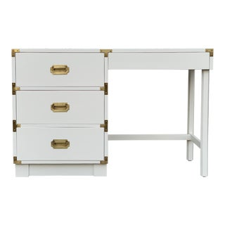 1970s Campaign Drexel Restored White Writing Desk For Sale