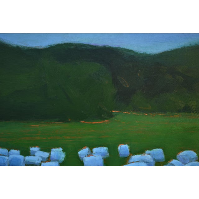 """Baled Hay at Dusk"" Contemporary Painting by Stephen Remick For Sale - Image 9 of 11"
