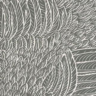 Schumacher Featherfest Wallpaper in Slate For Sale