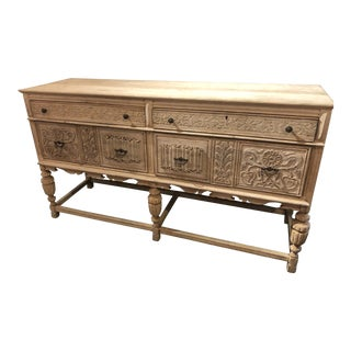 1920s Country Jacobean Carved Bleach Wood Sideboard For Sale