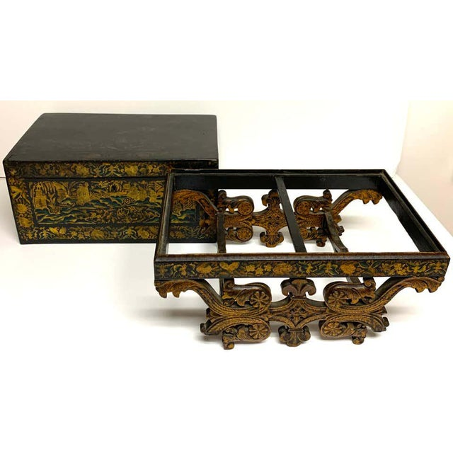 Exquisite Chinese export lacquer box and stand, circa 1820, in two parts, the box with warm faded top, revealing a...