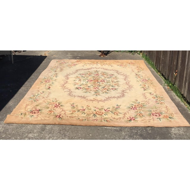 Very beautiful American needlepoint wool or cotton rug. Large rug in good shape. Slight fading and different coloring on...