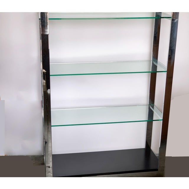 Metal Chrome Etagere With Glass Shelves For Sale - Image 7 of 8