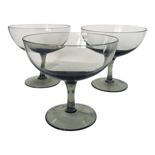 Mid-Century Green Champagne Glasses - Set of 3 For Sale