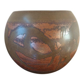 Large Mid-Century California Pottery Spherical Bulbous Abstract Designs Stoneware Vase Cachepot For Sale