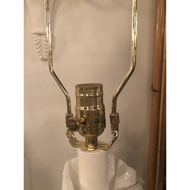 Vintage Hollywood Regency White Lacquered Plaster Brass Lucite Draped Table Lamps - A Pair For Sale In West Palm - Image 6 of 13