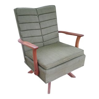 Vintage Mid-Century Modern Teak Swivel Rocking Chair For Sale