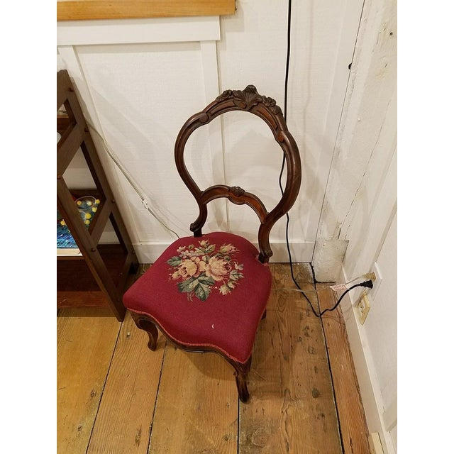 Wood Victorian Style Vintage Carved Wood Side Chair For Sale - Image 7 of 8