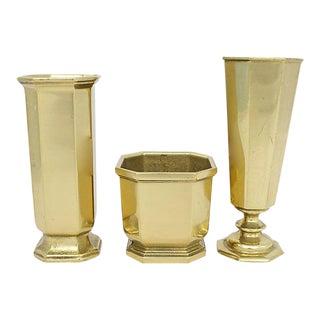 Mid-Century Italian Brass Vases - Set of 3