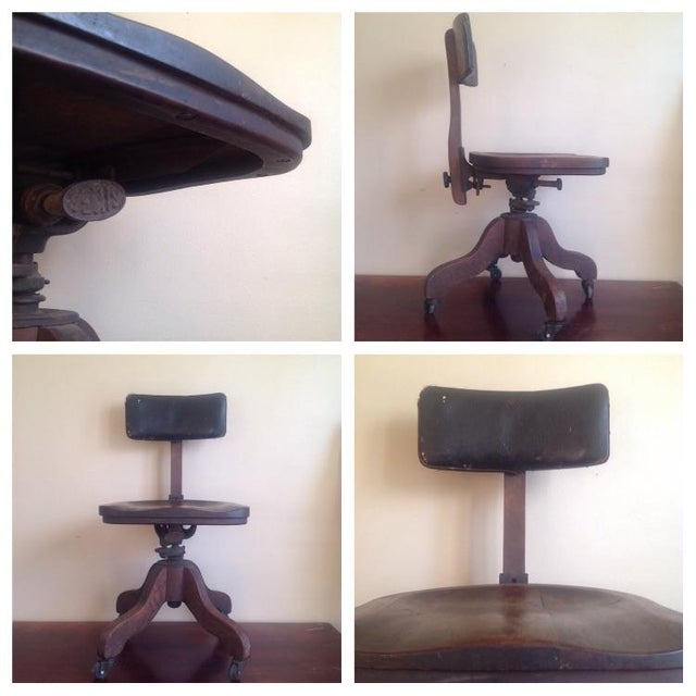 Early 1900s Sikes Wooden Office Swivel Chair - Image 5 of 7