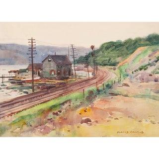 1912 Hudson River New York Egbert Cadmus Watercolor Painting For Sale