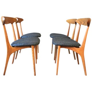 Vintage Mid Century Sculpted Dining Chairs by Kurt Ostervig- 4 Pieces For Sale