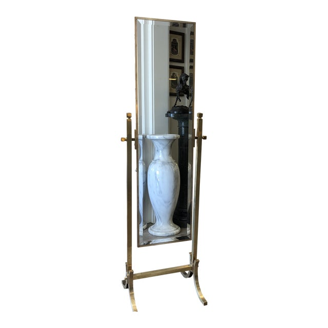 Vintage Brass Cheval Mirror For Sale