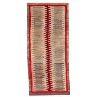 1900s Handmade Navajo Rug - 4′2″ × 9′2″ For Sale