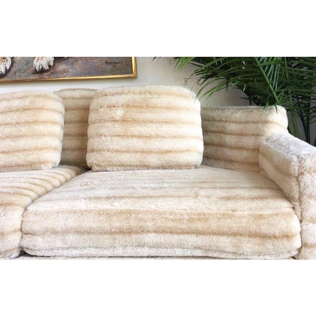 1960s Vintage Howard Parlor Faux Fur Sofa For Sale - Image 4 of 5