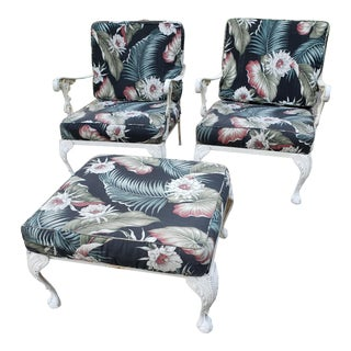 1930s Regency Chairs & Ottoman by Molla, 3 Pieces For Sale