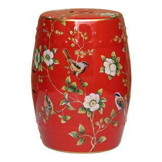 Handmade Bright Red Porcelain Bird Flower Round Stool Ottoman For Sale