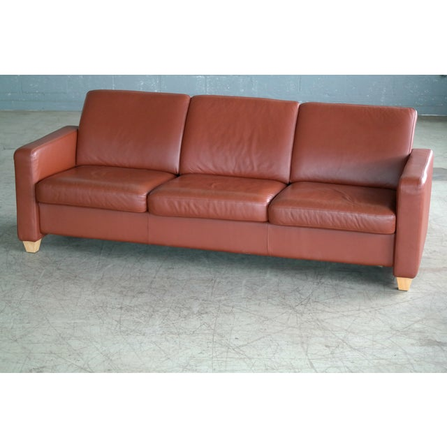 Danish Mid Century Modern Sofa in Brown Leather For Sale - Image 4 of 9