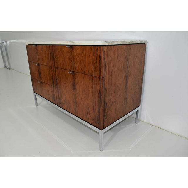 Metal Florence Knoll Rosewood Credenza With Calacatta Marble Top For Sale - Image 7 of 9