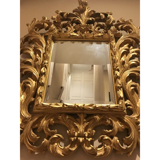 Glass Antiqued Art Deco Gold Brocade Wall Mirror For Sale - Image 7 of 11