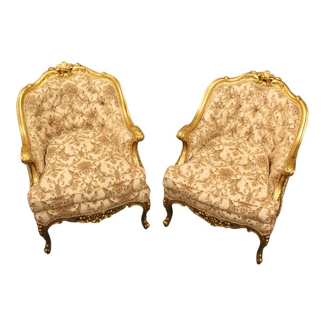 1950s Vintage Hollywood Regency Slipper Chairs- A Pair For Sale