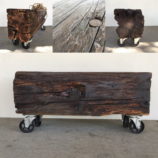 Recycled/Repurposed Rustic Beam Coffee Table on Casters For Sale - Image 7 of 7