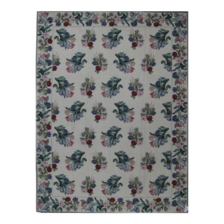 Needlepoint Design Hand Woven Floral Wool Rug - 9' X 12' For Sale