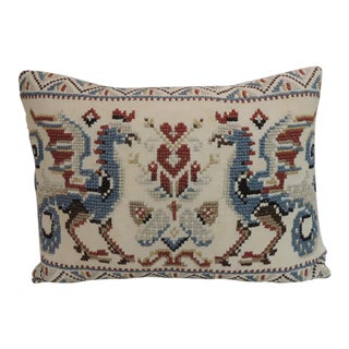 Vintage Red & Blue Needlework Tapestry Bolster Decorative Pillow For Sale