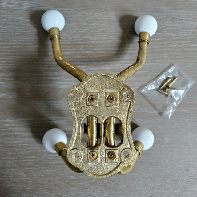 Double Arm Brass Coat Hook With Porcelain Knobs For Sale In Dallas - Image 6 of 7
