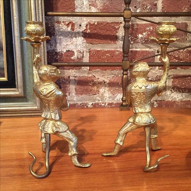 Pair of Gilt Bronze Monkey Candlesticks - Image 6 of 8