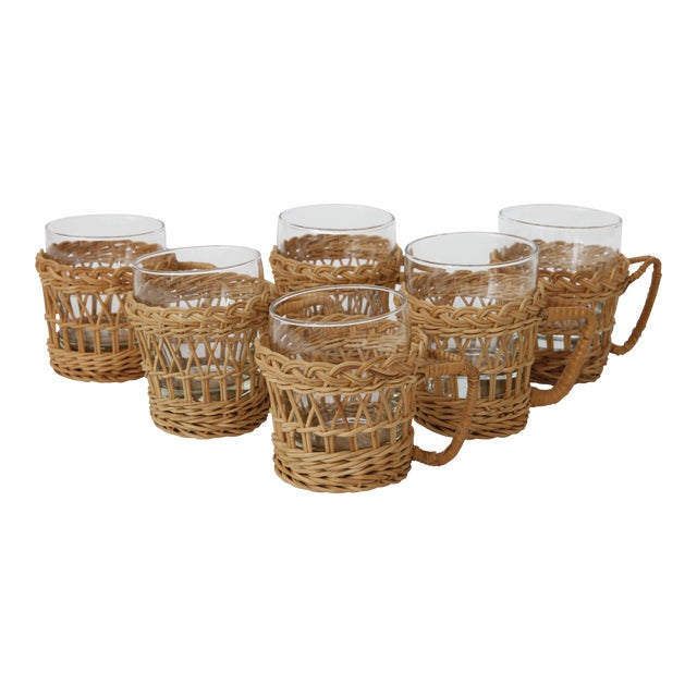 French Rattan Glasses With Rattan Holders - Set of 6 For Sale