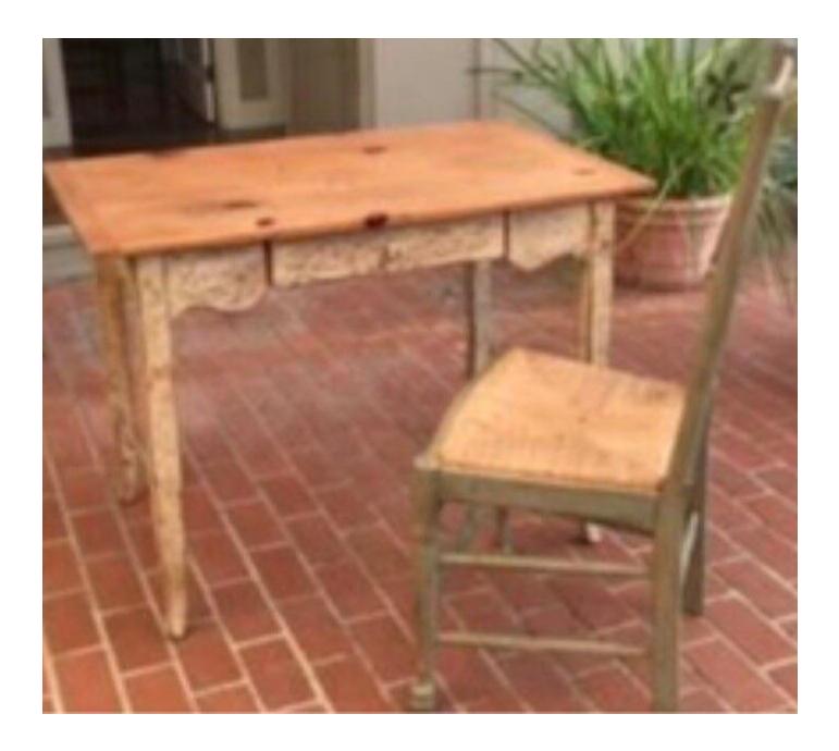 Custom Farmhouse Style Desk U0026 Ladderback Chair For Sale