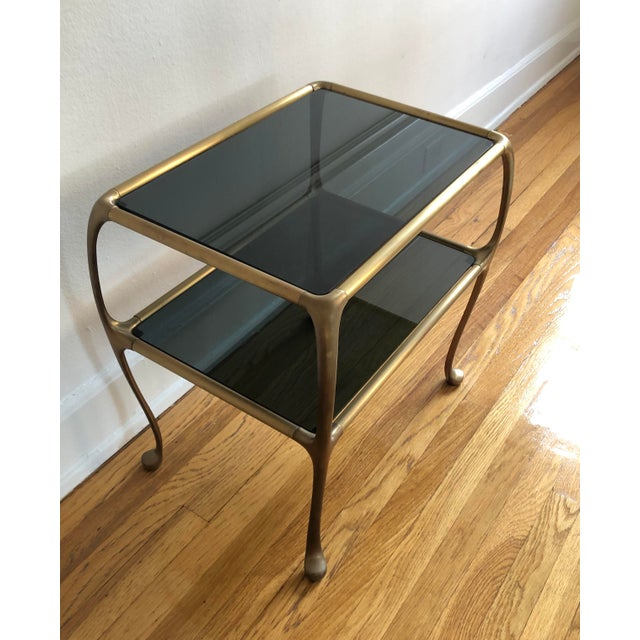 Metal 1960s Italian Maison Baguès Style Oil Rubbed Bronze Brass Table For Sale - Image 7 of 9