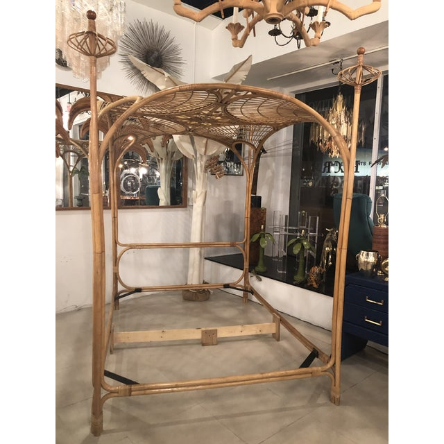 Amazing, one of a kind, vintage rattan and bamboo queen size canopy bed. This is a statement piece! No missing or broken...