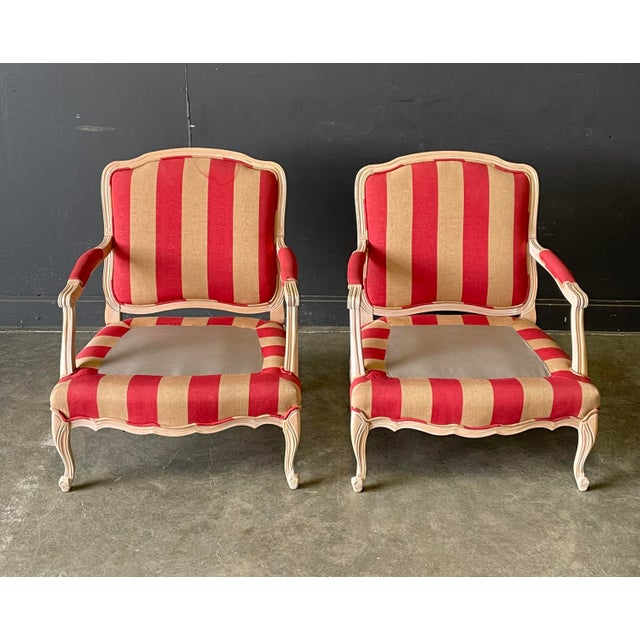 French Country Style Lounge Chair and Ottoman a Pair For Sale - Image 9 of 11