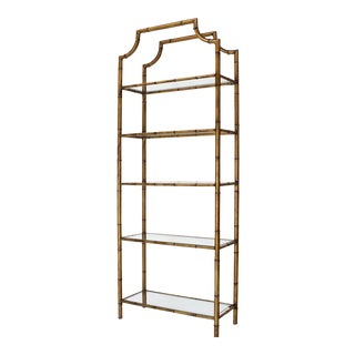 Mid Century Modern Five Tier Faux Bamboo Etagere Shelving Unit For Sale