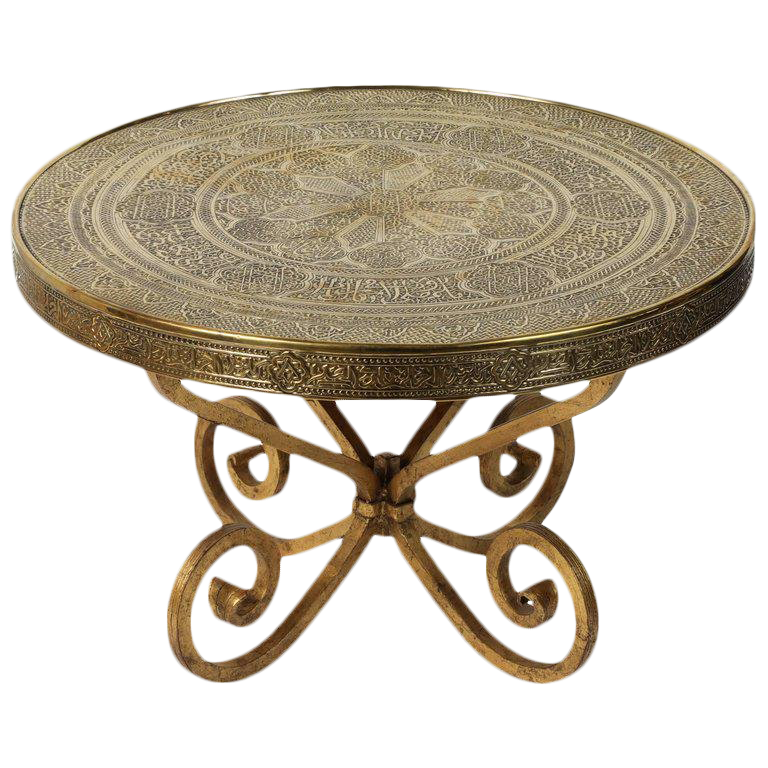 Middle Eastern Syrian Antique Brass Tray Table With Gilt Iron Stand