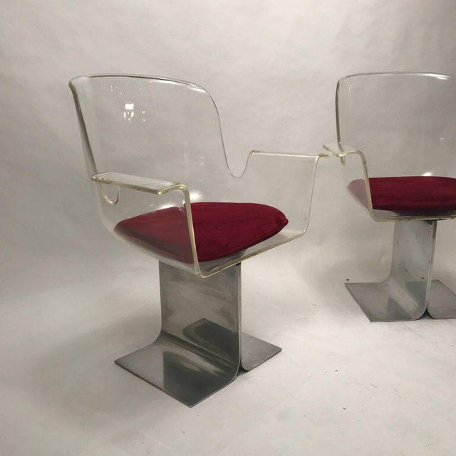 Pair of Pace Lucite & Aluminum Dining or Conference Swivel Chairs by i.m. Rosen For Sale In New York - Image 6 of 13