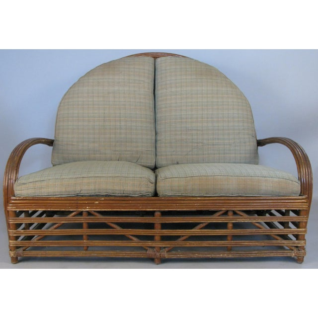 Boho Chic Antique 1940s Arch Top Rattan Settee by Heywood Wakefield For Sale - Image 3 of 8