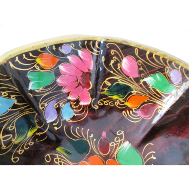 Large Mexican Batea Hand-Painted Wood Bowl For Sale - Image 4 of 6